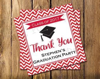 Printable Graduation Red Chevron Gift Tags