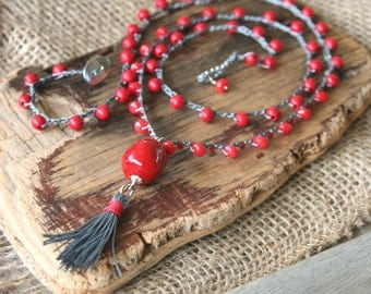 Long Necklace, Red Necklace, Boho Necklace, Layering Necklace, Tassel Necklace, Red and Gray, Red Coral Necklace, Bohemian Necklace