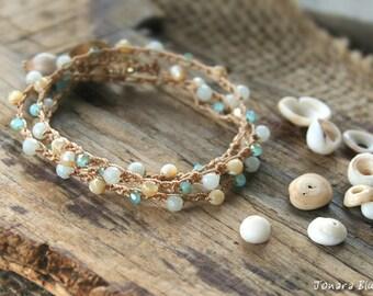 Bracelet Wrap, Crocheted Bracelet, Stacking Bracelet, Beachy Bracelet, Boho Bracelet, Made in Hawaii, Summer Bracelet, Beachy Boho, Hippie