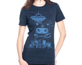 seattle Kitty Crew neck T shirts