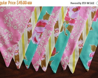 Entire Shop On SALE Girl's Baby Bunting.  Photo Prop, Nursery Decoration, Party Banner. Pink, Aqua and Yellow, Ready To Ship as Shown.