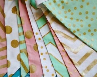 FLASH SALE 40 Percent Off Mint, Pink, Metallic Gold Fabric Bunting Flag Banner, Garland Bunting.  Chevrons, Dots, Designer Fabrics, Wedding