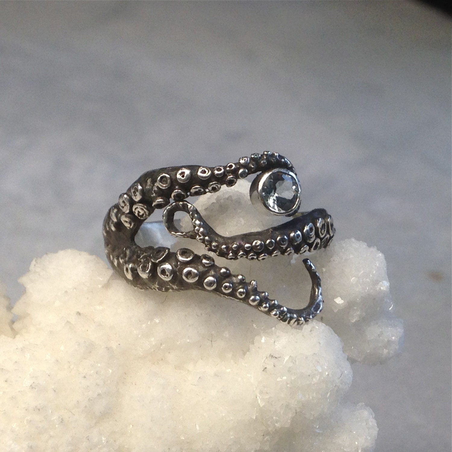 sale ring octopus ring sterling silver aquamarine