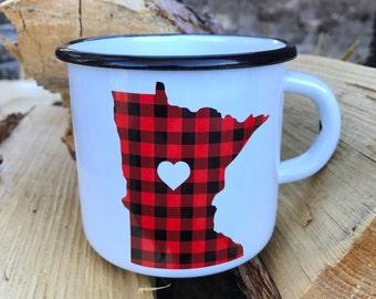 Camping Mug Minnesota Flannel  - Enamel Camp Mug Minnesota Flannel Love - Enamelware Minnesota Coffee Mug - Buffalo Check Mug Oh Geez Design