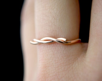 Rose Gold Wave ring, 14K Rose Gold fill stacking ring, wave ring, knot ring, thick rose gold ring, ocean ring, nautical jewelry, twist ring