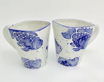 Fish Mugs, Sea, Fishes, Coffee, 16 oz, Handmade By Sara Hunter
