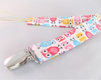 Universal Fabric Pacifier & Toy Clip - Mini Owls in Pink Aqua Yellow - Paci Clip, Teether Clip, Binky Clip, Baby Shower Gift