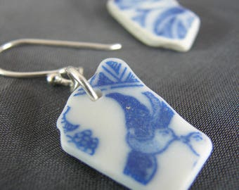 Sea Pottery earrings / sea pottery jewelry / sea glass earrings / blue and white pottery shards / sea glass earrings / sterling silver