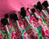 2 tiered Makeup brush roll, Crochet hook organizer , paintbrush roll , roses