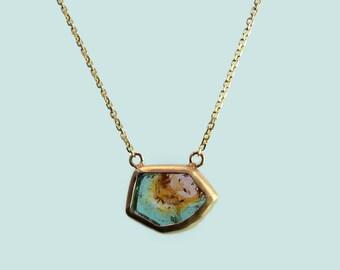 Rainbow tourmaline slice necklace 14kt