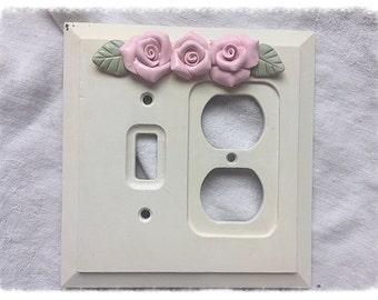 Outlet SWITCH PLATE Cover Shabby Chic Cottage White Pink Roses ecs sct schteam SVFTeam