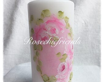 """White 6"""" PILLAR Candle Hand Painted Pink Roses ECS svfteam"""