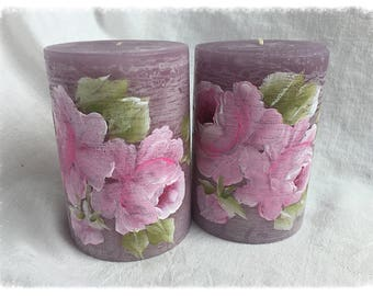 """PILLAR Lavender/Purple Candle Shabby Chic 4"""" PINK Hand Painted Roses ECS SVFTeam"""