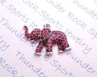 red ELEPHANT CHARM, Antique Silver, crystals, PENDANTS, jungle, zoo, good luck