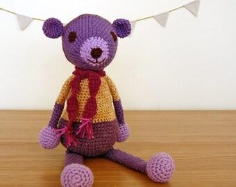 Teddy Bear, Knitted Teddy Bear, Handmade Teddy Bear, Baby Gift, Girl Baby Shower Gift, Newborn Gift, Purple Teddy Bear, Girl Baby Gift