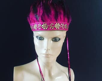 Pink Feather crown Head Dress Feather head Piece Festival boho sequin gold