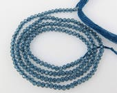 1.5mm Micro-Faceted London Topaz Beads - One Full Strand