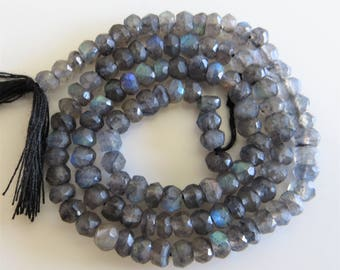 2mm - 3mm Faceted Labradorite Rondelle Beads - One Full Strand