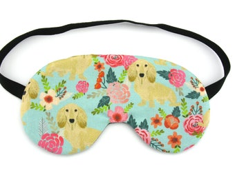 Dachshund with Flowers Sleep Eye Mask, Sleeping Mask, Travel Mask, Sleep Mask, Travel Gift, Gift for her