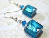 Earrings venetian glass square beads turquoise aqua crystal