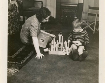 vintage photo 1939 Mother Plays Wooden Blocks Boy Ferdinand Book