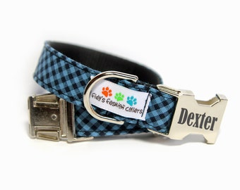 Engraved Blue Tartan Dog Collar, Blue and Black Check, Personalized  Dog Collar (shown with optional engraving), Bias Blue Plaid