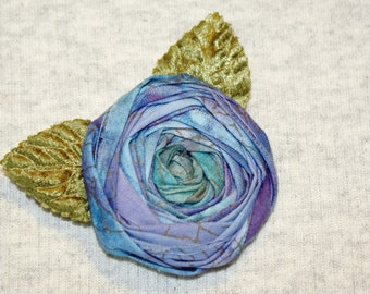 Jewel Tone Fabric Rosette Flower Brooch  PURPLE HAZE Blue and Purple