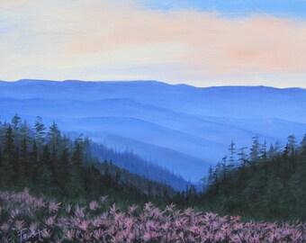 Blue Ridge Flowers, Blue Ridge Mountains, Flowers, Smoky Mountains, Original painting on canvas, Foust, Landscape,