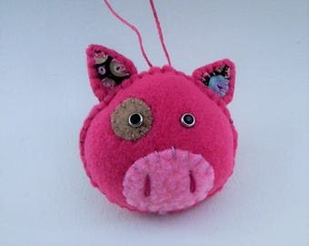 Hot Pink Pig Ornament with black eyes