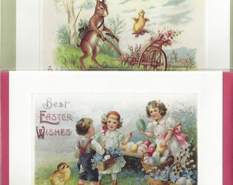 Vintage Style / Easter Greeting Cards / Four Cards With Envelopes / Frame-able Artwork