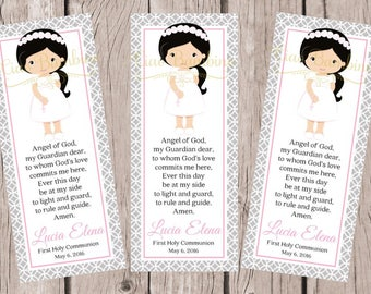 PRINTABLE First Holy Communion Bookmark in Pink and Silver Gray / Choose Hair & Skin Color / Communion Bookmark Favors - HC02