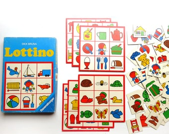Vintage 70s Dick Bruna Bingo Game Lottino Ravensburger - 1970s 6 Picture Game Boards and 53 Cards Miffy - Dutch Design West Germany