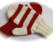 Mittens, Children, Hand Knit, Red and White, Mismatched, 5 to 7 years