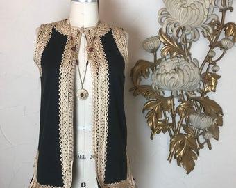 1970s vest sleeveless top ethnic vest wool vest size medium vintage vest ethnic top vintage top