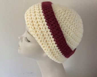 Crochet Cream/Plum coloured Slouchie/Beanie wool hat