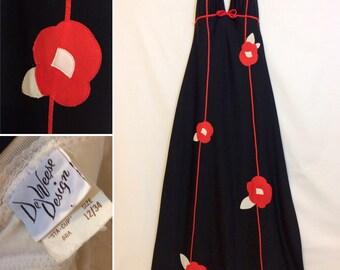 REDUCED  Vintage Hollywood Volup PINUP halter sundress vintage Deweese Hawaiian Tiki pool party dress