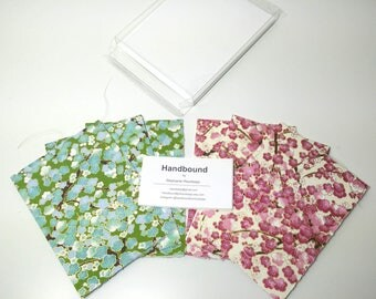 Set of 6 - A2 Handsewn Japanese Chiyogami Yuzen Card | Note Cards with Inner Deckled Edge & Envelopes - Green and Pink Sakura Blossoms