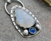 35% OFF - Mother's Day Sale Rainbow Moonstone Sapphire Sterling Silver Necklace