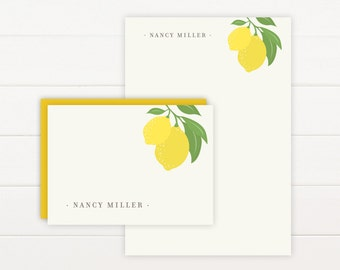 LIMONE Personalized Stationery + Notepad Set - Personalized Notepad and Personalized Stationary
