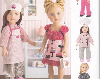 "Simplicity 8315 American Girl Doll Clothes 18"" Jacket Pants Apron Hat Shirt Scarf Skirt Sewing Pattern New UNCUT"