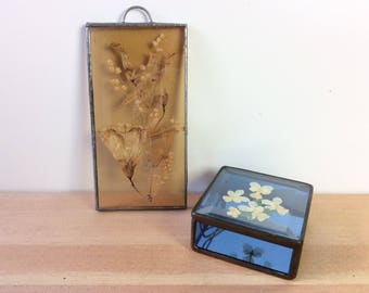 Pressed Flower Glass Box, Suncatcher / Wall Hanging. Vintage. Real Dried Flowers, Stained Glass Trinket Box / Jewelry Case. Zinc, Copper.