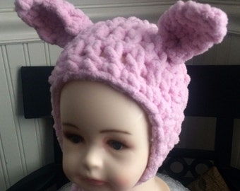 Super Chunky 6-12 month Baby Bunny Hat