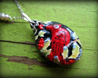 Red Cardinal Pendant Necklace ~ Good Luck- Gift Mothers Day 35th 40th 45th 50th 55th 60th 65th 70th  Sister Daughter Mom