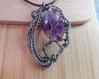 Tree of Life Pendant Purple Amethyst Green Peridot beads Wire Wrapped Mixed Metal Copper Sterling Silver Boho Jewelry Handmade Renaissance