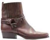 Men's Chelsea Boots 80s Brown Western Vintage Cowboy Real Leather Ankle Cowboy Booties Buckle Square Toe Boot sz US men 8.5, Uk 8, Eur 42
