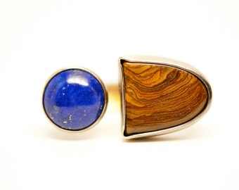 ancient secrets ring - sterling silver lapis and tiger iron ring - double stone ring - one of a kind