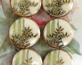 6 Vintage Satsuma Bamboo Porcelain Painted Buttons Set