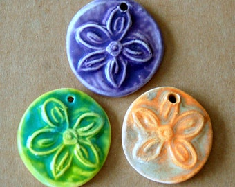 3 Handmade Ceramic Flower Pendants - Boho Flower Charms in Light and Bright Spring Colors -  Flower Power Beads - Stoneware focal beads