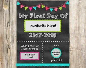 First Day of School Sign. Printable. Instant Download. Any Grade. 2017.2018. Fill in the Blanks. Chalkboard Printable. Pink Colors. SALE