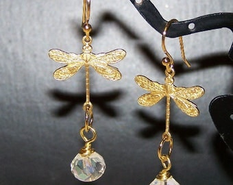 Golden Dragonfly Rainbow Aura Crystal Earrings by Sapphireskies Designs